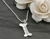 Dog Bone Charm Necklace - Personalized - Sterling Silver