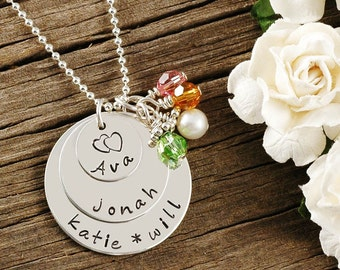 Hand Stamped Necklace - Personalized Jewelry - 3 - Triple Stacked Discs - Sterling Silver with Birthstones