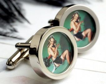 Pin Up Maid with Feather Duster Erotic Cufflinks  PC310