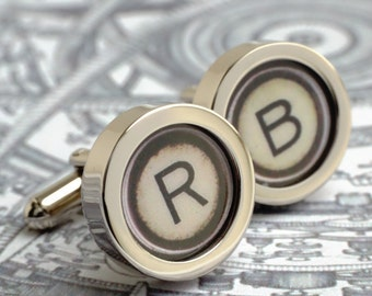 Monogram Typewriter Cufflinks with Single Initial Typewriter Letters Steampunk Style
