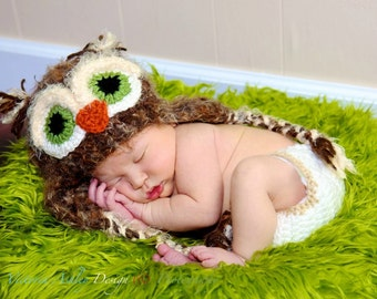 Baby Owl Hat - Fuzzy Brown OWL Beanie Newborn Crochet Hat Unique Photo Prop