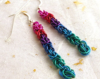 Multicolored chainmail long dangly earrings