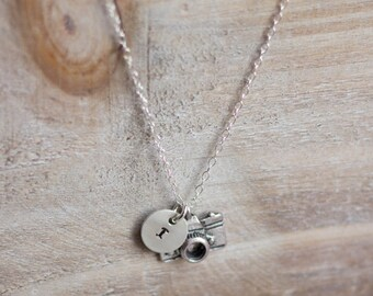 Camera Necklace - Hand Stamped Initial Necklace - Sterling Silver - Photographer Gift - Graduation Gift