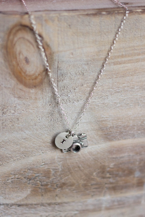 Camera Necklace - Hand Stamped Initial Necklace - Sterling Silver - Photographer Gift - Camera Initial Necklace - Silver Camera Necklace