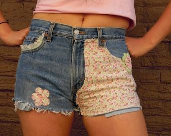 Levi's Vintage handmade distressed denim sweet country farm girl mid rise festival fringed knicker cut shorts