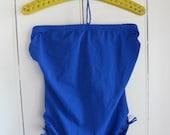 NWT Sea Pearl royal blue 80s swimsuit bathingsuit  strapless tie detail shelf bra vintage size 16 more like M