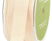 1 yd -  CHAMPAGNE Twill Stripes Chevron  - 3/4-Inch Wide Ribbon - May Arts