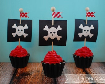 Pirate Ship Flags  Cupcake Toppers - Makes 12 Cupcakes