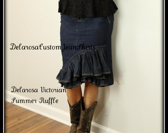 Delarosa Victorian Summer Ruffle denim skirt Custom Order to Your size 0 2 4 6 8 10 12 14 16 18