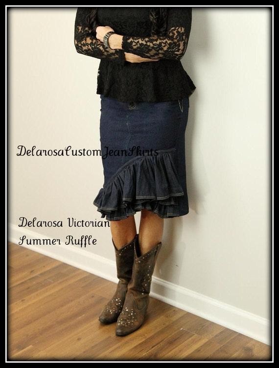 Delarosa Victorian Summer Ruffle denim skirt Custom Order to Your size 0 2 4 6 8 10 12 14 16 18
