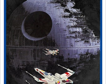 Star Wars Death Star poster - Attack on the Death Star - 8x10, 11x14 or 16x20 print - Starwars poster