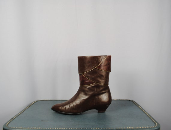 Vintage Two Tone REPTILE Leather FOLDED Top Boots. 7.5E  (38 Euro)