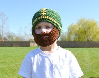 Crochet Boy Football Beanie with Beard - Dark Sage and Sunshine - MADE TO ORDER