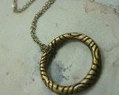 Circle Pendant, Brass Necklace, Delicate Necklace, Dainty Brass Necklace, Simple Stacking Necklace, Grooved Pendant on a Fine Brass Chain.
