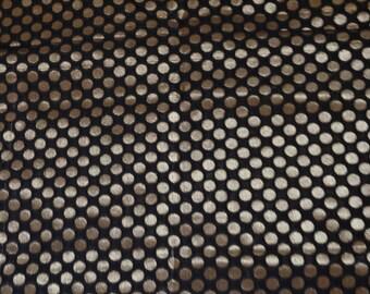 Golden polka dots on black Brocade Fabric