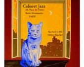 The Blue Cat, PARIS France Cabaret Poster Jazz Piano moonlight,Original illustration artist Print Wall Art, Free Shipping in USA.