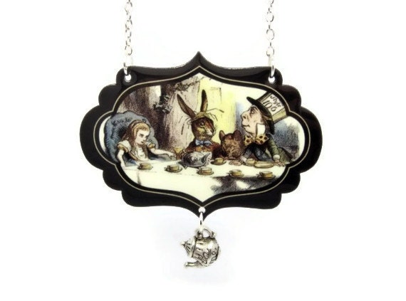 mad hatter necklace tea in by thespangledmaker