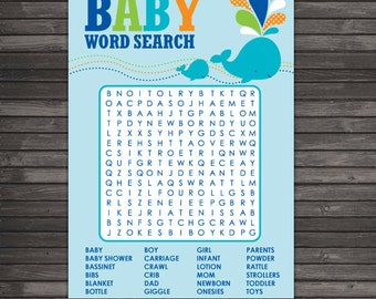 Whale Baby Shower Word Search Game - Whale Baby Shower Games - Aqua Blue Baby Shower - Boy Baby Shower Games Printable - Instant Download
