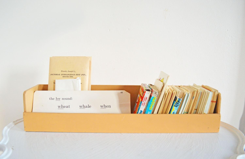 long vintage wood desk organizer caddy box tray office