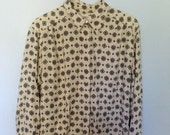 RESERVED for DelaEpoca Printed Ivory Liz Claiborne Blouse - 1980s Med/Small