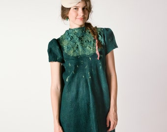 Spring Dress, Emerald Green Dress, Loose Dress, Oversized Dress, Felted Dress, Formal Long Dress, Floor Length Dress, Retro Wedding Dress