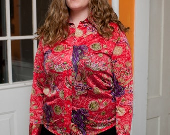 """psychedelic van gogh """""""" abstract print blouse """""""" ON SALE"""