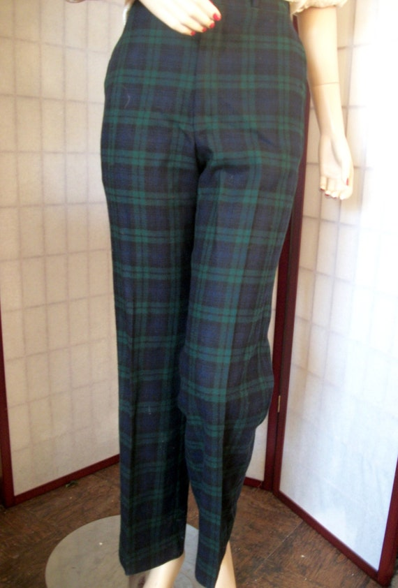 Vintage Plaid Pants Black Watch Waist 34