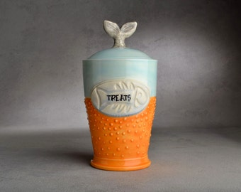 Cat Treat Jar Made To Order Fish Tail Fish Stamped Dottie Cat Treat Jar by Symmetrical Pottery