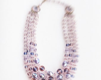Vintage late 40's/50's Lavender Glass/Carnival Glass 4 Strand Tiered Necklace made in West Germany