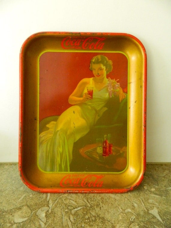 vintage 1936 coca cola tray art deco gown antique by objectretro. Black Bedroom Furniture Sets. Home Design Ideas