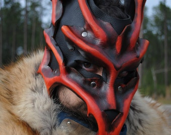 Ruby Kyuubi Demon Fox Leather Mask