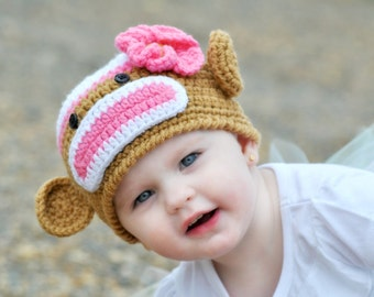 Sock Monkey Hat with Flower, Pink and Light Brown, MADE TO ORDER