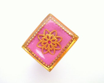Pink Square ring, Sterling silver ring with golden filigree flower and golden dots frame, Israeli jewelry by Hila Welner