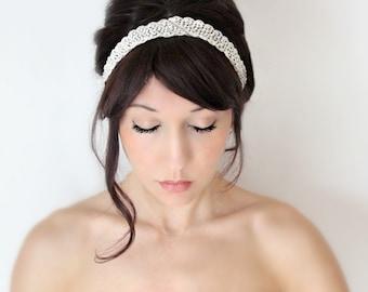 Bridal Headband, Rhinestone Art Deco Whimsical Romance, Bridal Hair,Tiara, wedding accessory, bridal headpiece, Flapper - Le Avenant  -
