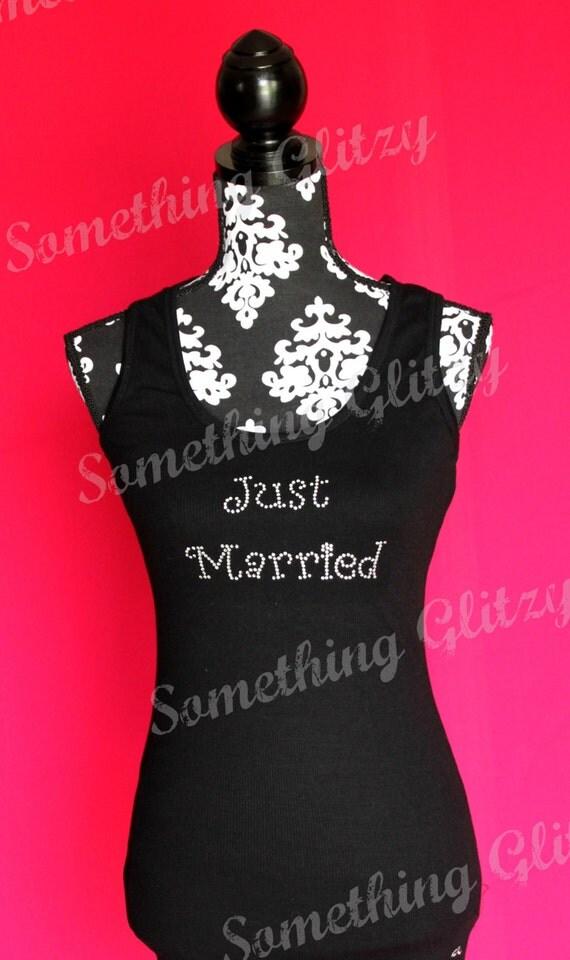 Just Married Rhinestone Tank, Just Married Shirt, Just Married Tee, Just Married Bling Shirt, Wifey Shirt, Wifey Tank, Honeymoon Shirt