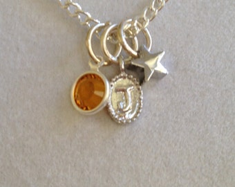 Initial J Birthstone and Star Necklace