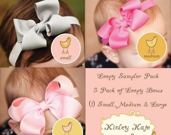 Baby Bow, Single Layer Loopy Grosgrain Boutique Baby Headband Bow Sampler Pack,  ANY COLORS you choose, Baby Headbands