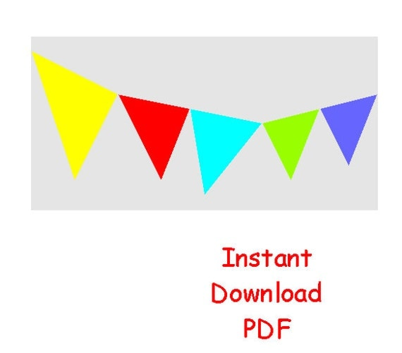 Bunting flags paper pieced quilt block PDF pattern triangles banner celebrations INSTANT DOWNLOAD