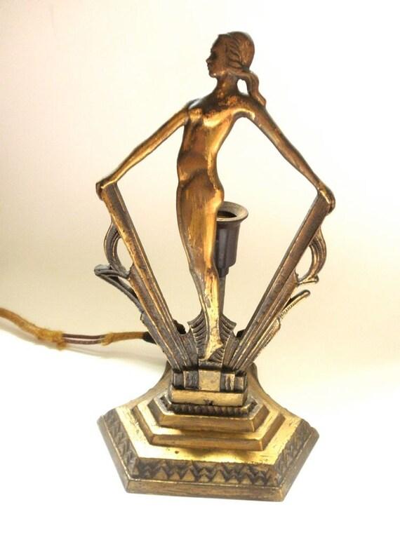 Original 1920s Art Deco Female Nude Boudoir Lamp By