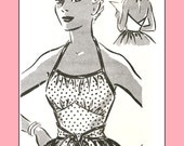 1950s 1-Yard Rockabilly Wrap Top, medium size - Vintage Sewing Pattern PDF 1002