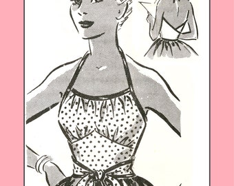 1950s 1-Yard Rockabilly Wrap Top, medium size - Vintage Sewing Pattern PDF 1002