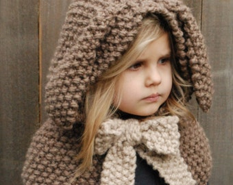 Knitting PATTERN-The Royalynn Rabbit Hood (6/9 month - 12/18 month - Toddler - Child - Adult sizes)