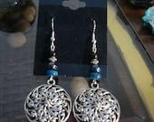 Mandala Earrings, Hematite, Blue Shell, Mandala charm, Handmade, Lotus Jewelry