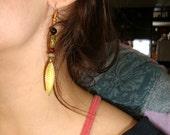 Warm Golden Leaf Earrings, Unakite, Garnet, Onyx, Gold Leaf Charm, Handmade Earrings, Lotus Growing Jewelry