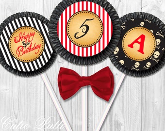 """Pirate Party For Boys Cupcake Toppers, 2"""" Custom Party Squares By Cutie Putti Paperie"""