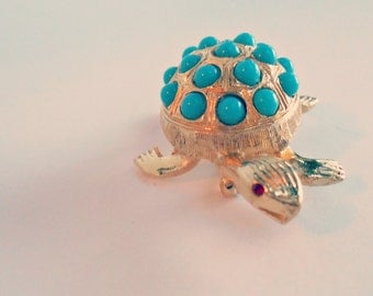 Vintage Turquoise and Gold Mock Turtle Brooch - Alice's Tea Party