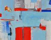Huge Abstract Oil Painting- Calico Pie- by Sarah Lapp 48 x 48 Red Blue Minimalist Painting