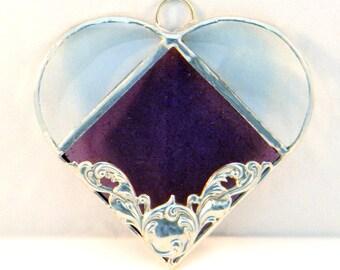 Stained Glass Heart Suncatcher, Amethyst  Purple, Silver Embellishment,  Home Decor, Wedding Favors, Housewarming Gift, Summer Wedding