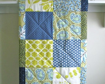 Modern Baby Boy Quilt -  Blue Paisley - Gender Neutral - Crib Quilt in Navy, Citron, Blue, and Ivory - Flannel or Minky Back