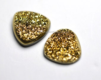 One Bright Metallic Gold Sparkling Druzy Triangle Cabochon 15mm